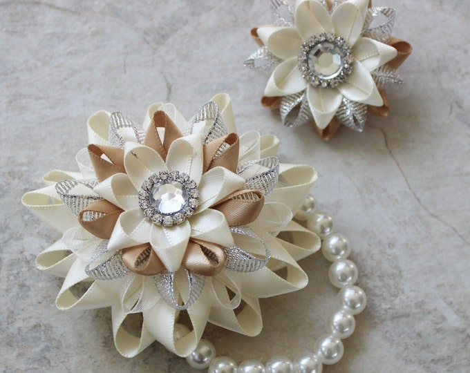 Wrist Corsage and Boutonniere, Prom Flowers, Ivory Corsage Bracelet, Wedding Corsage Wrist Flowers, Beige, Champagne, Matching Couple