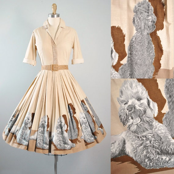 Vintage 50s Dress 1950s John Wolf Poodle Puppy Dog Border