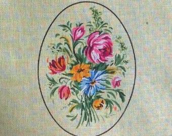 Vintage Petit Point Canvas - Floral Bouquet -  by Margot de Paris