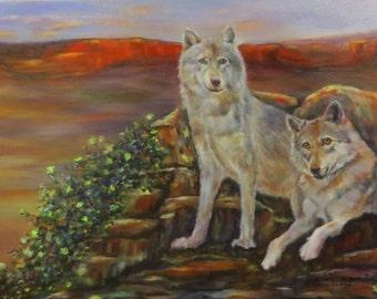 "Wolves animal art original oil painting on 12"" x 24"" canvas by Sandra Cutrer Fine Art"