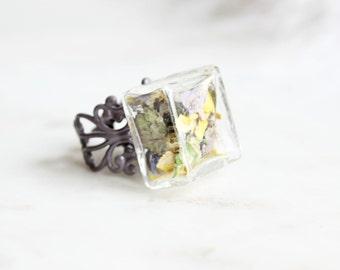 Flower Ring | Adjustable Purple Glass Ring | Purple Flower Ring | Flower Dance