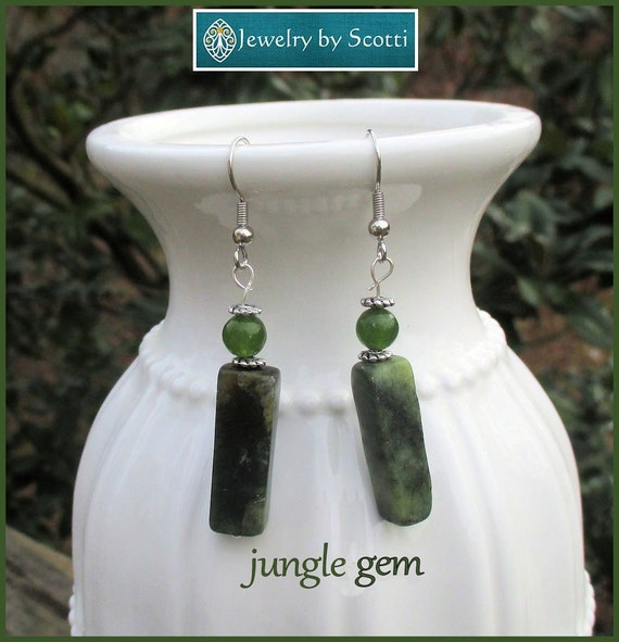Green Jasper Gemstone Dangle Earrings, Hypoallergenic Nickelfree Silver Plated Hooks, Dark Green Geometric Statement Earrings, Forest Green