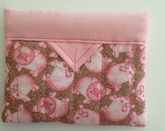 Pink Pigs Quilted Fabric Mini Snap Bag Purse Pouch