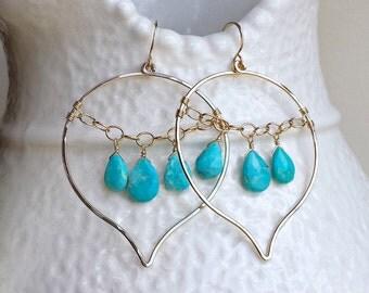 Sleeping Beauty Turquoise Hoops, Turquoise Chandelier Earrings, Lotus Petal Earrings, Lotus Earrings, Boho Chandelier Hoops: Ready to Ship