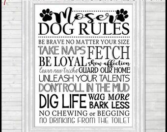 DOG Rules Subway Art, Dog Print Wall Art, Home Decor, PERSONALIZED -  Printable