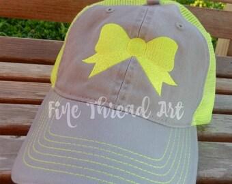 LADIES Bow Mesh Back Trucker Baseball Cap Hat Mom Bridesmaid Bride Bachelorette Summer Beach Hat Trucker Hat