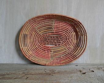 vintage woven oval basket tray  native style basket wall hanging   rustic southwestern boho home decor