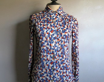 Vintage 1970s Shirt Earle Picard Blue Block Pattern 70s Poly Knit Jersey Shirt Small