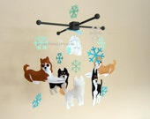 "Baby Crib Mobile - Baby Mobile -  Dog Neutral Hanging Mobile - ""Siberian Husky and Snowflakes"" (Pick your color)"