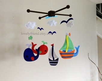 """Baby Crib Mobile - Baby Mobile - Nursery Decorate Neutral Mobile - """"Cute Whales and Sailboats in the sea"""" mobile (Pick your color)"""