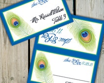30 Custom Peacock Feather Place Cards / Escort Cards - Personalized Peacock Wedding Seating Cards / Peacock Place Cards - Showers / Birthday