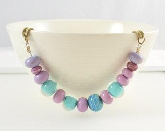 Long Pastel Pink Necklace, Long Light Blue Necklace, Long Pink Necklace, Pink Jewellery, Long Beaded Necklace, Pink Australian Jewellery