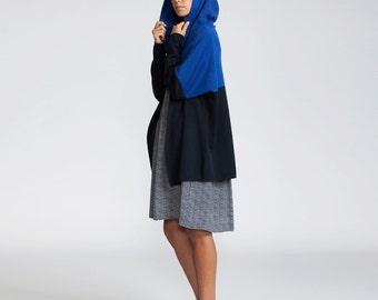 Buy 1 get 1 sale Knit Hoodie Cardigan, blue Hoodie, Oversize Cardigan, Hooded Coat, Designer Coat, Colorblock Cardigan,  hooded cape