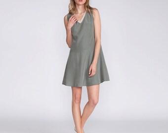 Short green dress, Women dress, fitted dress, v neck, summer mini length dress, sleeveless dress, casual wear, low waist skirt, day to night