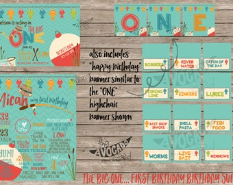 The BIG One - Gone Fishin' - First Birthday Invitation Suite (or individual items) - DIY Printing or Professional Prints