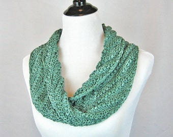 Hand Knit Mobius Cowl, Diagonal Rib, Seafoam Green, Tone on Tone, Handmade, Cotton Ribbon, Lightweight, Infinity Scarf, Chic Accessory, Gift