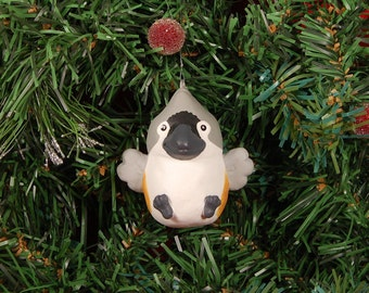 Hand Sculpted Pudgie Tufted Titmouse Ornament