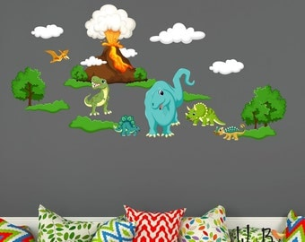 Dinosaur Wall Decals For Nursery -  Kids Wall Decals Dinosaurs -  Wall Stickers - Removable Reusable Fabric Wall Decals