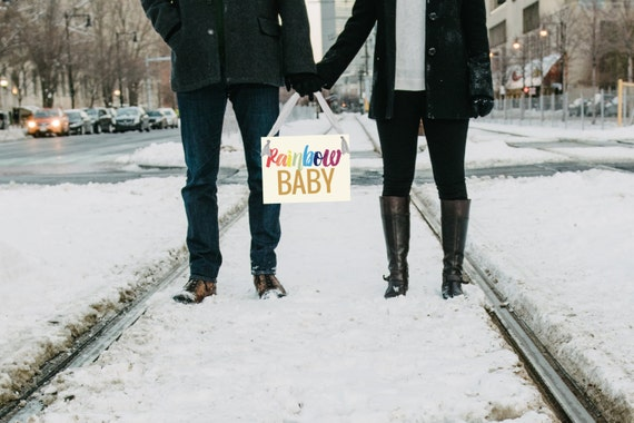 Rainbow Baby Pregnancy Announcement Sign | Baby Reveal Maternity Shoot | Hanging Banner Handmade USA Pregnant Picture Photographer Prop 2017