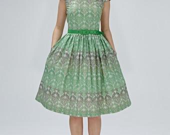 1950s inspired dress Tea length dress Emerald green dress 50s green dress 1950s cocktail dress 50s cocktail dress  50s party dress