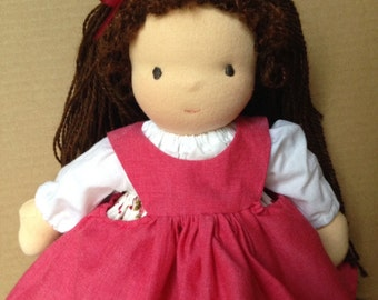 12 inch Dress up Waldorf Doll with Brown Hair and Blue Eyes