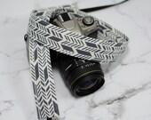dSLR Camera Strap - Grey and White Sunprint Feathers - Grey Camera Strap dSLR