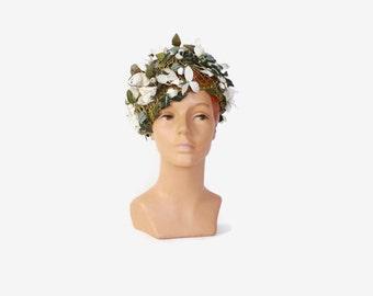 Vintage 60s SCHIAPARELLI Floral HAT / 1960s Green & White Whimsical Flowers Designer Hat