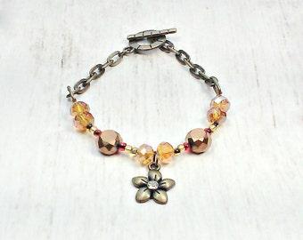 Flower Beaded Bracelet - Bronze Bead Bracelet - Boho Flower Bracelet - Chic Bead Bracelet - Womens Bracelet
