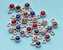 BULK 50 Rhinestone Drop Charms Antique Silver Tone Assorted Colors 5mm - SC5181
