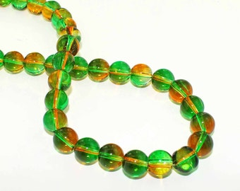 15 Glass Beads 10mm - Emerald Green with Tangerine Ombre - BD810