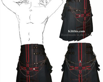Interchangeable Black Canvas Cargo Utility Kilt Red Black Cross Design Adjustable Custom Fit Many Options