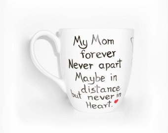 My Dad Fathers Day Mom Forever Single Hand Painted Porcelain Cup State to State Coffee Cup, Coffee Mug Single Porcelain Cup, Long Distance