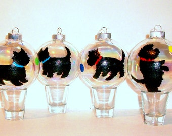 West Highland Terrier Silhouette Set of 4 -4 inch Painted Glass Ornaments Gift Westie Lover Dog Christmas White Westie or Black Westie