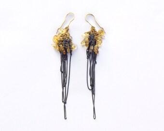citrine cluster drop earrings, dangle earrings, crochet earrings, multicolor oxidized silver & goldfilled, ooak jewelry