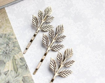 Branch Bobby Pins Leaf Hair Pin Antiqued Gold Brass Leaf Bobbies Nature Woodland Wedding Rustic Gold Leaves Hair Grips Bridesmaids Gift