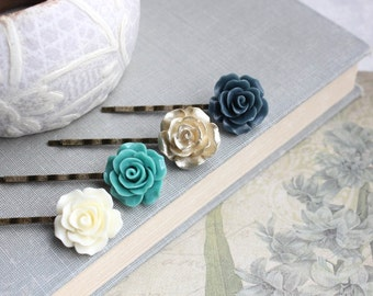 Rose Bobby Pins Ivory Cream Floral Hair Accessories Navy Blue Rose Hair Clip Teal Flower Bobbies Flowers for Hair Gold Rose Hair Pins