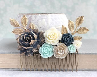 Navy Bridal Hair Comb Floral Hair Piece Mint and Navy Wedding Ivory Cream Rose Comb Vintage Inspired Flowers For Hair Gold Rose