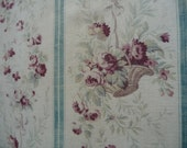 "ANTIQUE FRENCH FABRIC fabulous florals duck egg blue tiny rose baskets long panel 32"" x 100"""
