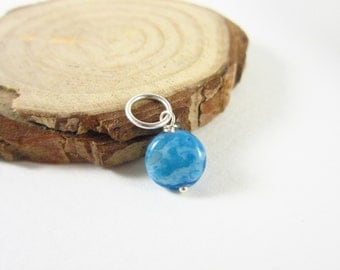 Blue Lace Agate Charm - Crazy Lace Agate Pendant - Sterling Silver Charms - Blue Gemstone Jewelry - Unique Gemstone - Polished Stones