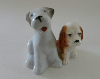 Pair of Terrier Ornaments - Vintage Ceramic Dogs