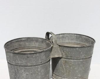 Vintage Double Pail Bucket Galvanized Zinc Metal Distressed Primitive Rustic Farm Barn Garden Decor Planter Farm Barn Wedding Decor