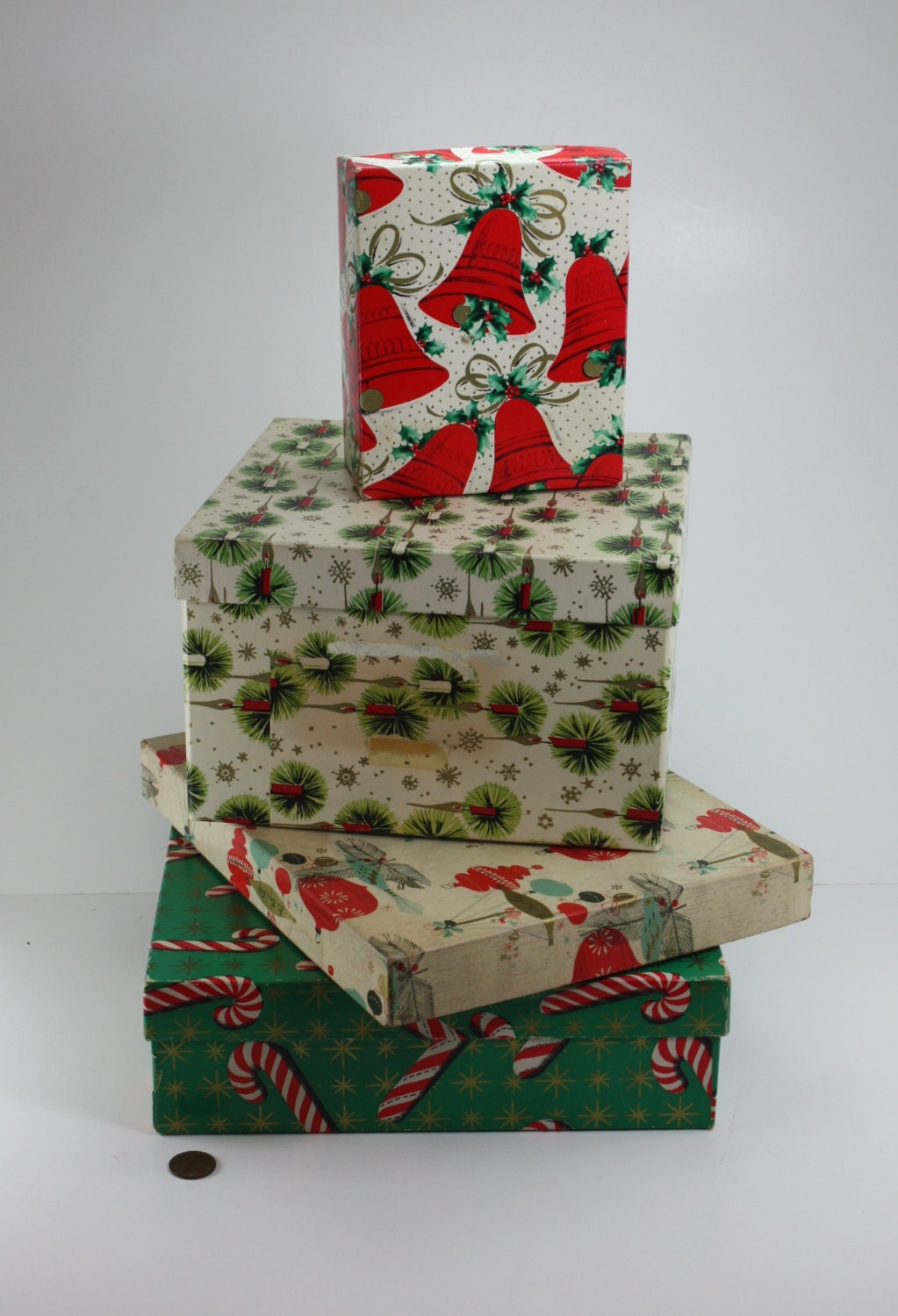 Vintage christmas gift boxes holiday decor