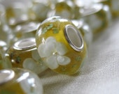5 Yellow Green White Lampwork Embedded Flower beads. 13mm x 8mm, 4.5mm hole, pkg 5 beads