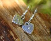 Valentines Heart earrings, dangle earrings, beaded earrings, silver earrings, earrings