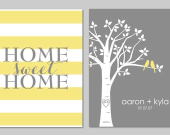 """Wedding Gifts for Couple, Wedding Gifts Personalized, Yellow and Grey Bedroom, Home Sweet Home Sign, Gifts for Bride, Set of two 8""""x10""""s"""