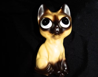 Adorable vintage 60's mean sad big eyed cream black Siamese cat kitten chalkware bank figurine statue MCM Keane style