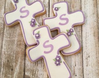 Communion Favors, Personalized Baptism Cross Cookie Favors - 1 dozen