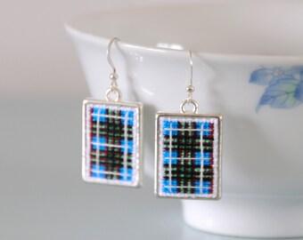 Edinburgh Tartan Earrings - Cross Stitch Scottish Jewellery Silver Dangle Drop Earrings Scotland Gift for Her by Emma Dickie Design