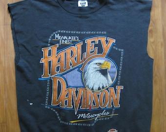 1980s Vintage Harley Davidson Eagle Sweatshirt // Sleeveless // Size XL // Distressed // Thrashed // Cut off