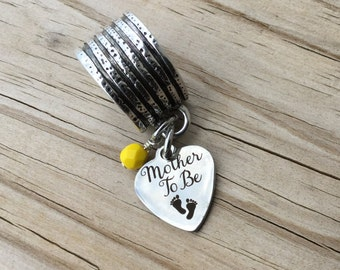 """Scarf Accessory, Decoration- """"Mother To Be"""" with footprints- laser etched charm with an accent bead in your choice of colors"""